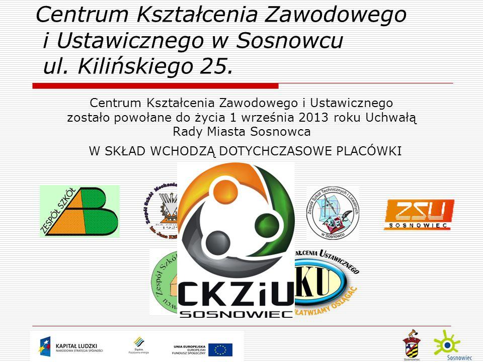 W SKŁAD WCHODZĄ DOTYCHCZASOWE PLACÓWKI Centrum Kształcenia Zawodowego i Ustawicznego w Sosnowcu ul.