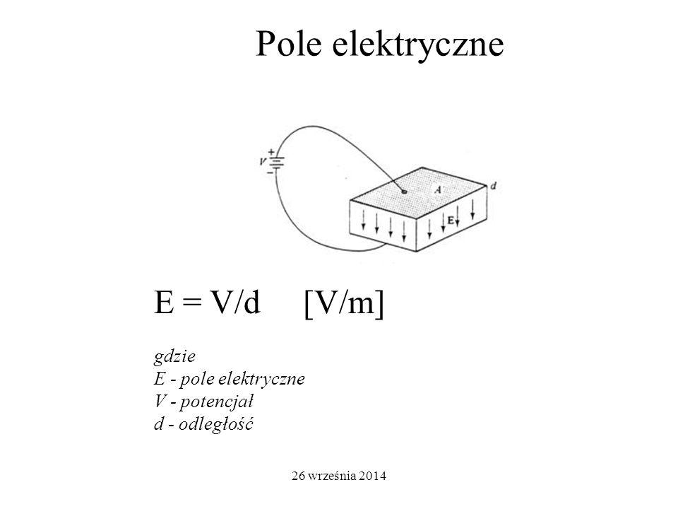 26 września 2014 Pole elektryczne E = V/d [V/m] gdzie E - pole elektryczne V - potencjał d - odległość