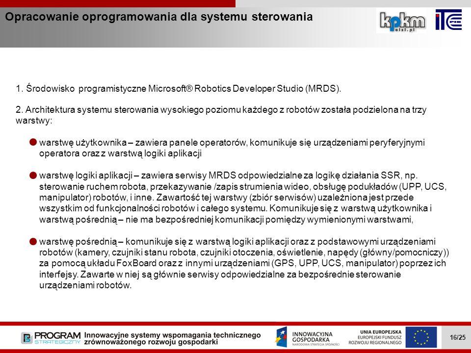 Opracowanie oprogramowania dla systemu sterowania Wielozadaniowe mobilne roboty … II.4.1 16/27 1. Środowisko programistyczne Microsoft® Robotics Devel