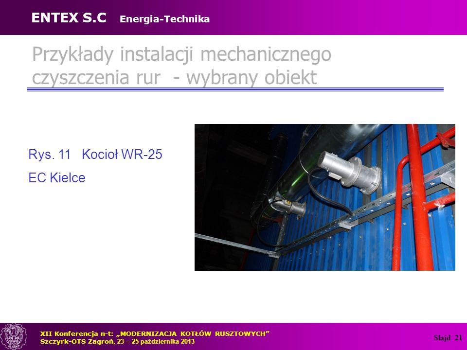 Slajd 22 Przykłady instalacji mechanicznego czyszczenia rur - wybrany obiekt Rys.