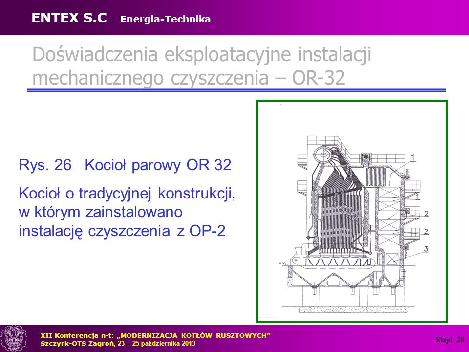 Slajd 27 Zalety mechanicznego czyszczenia Zalety metody mechanicznego czyszczenia rur wężownic obijakami OP-2 firmy ENTEX S.C.
