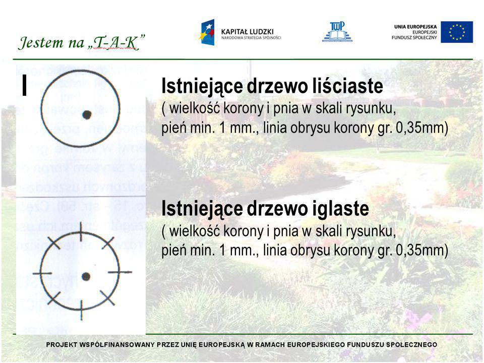 Istniejące drzewo liściaste ( wielkość korony i pnia w skali rysunku, pień min. 1 mm., linia obrysu korony gr. 0,35mm) Istniejące drzewo iglaste ( wie