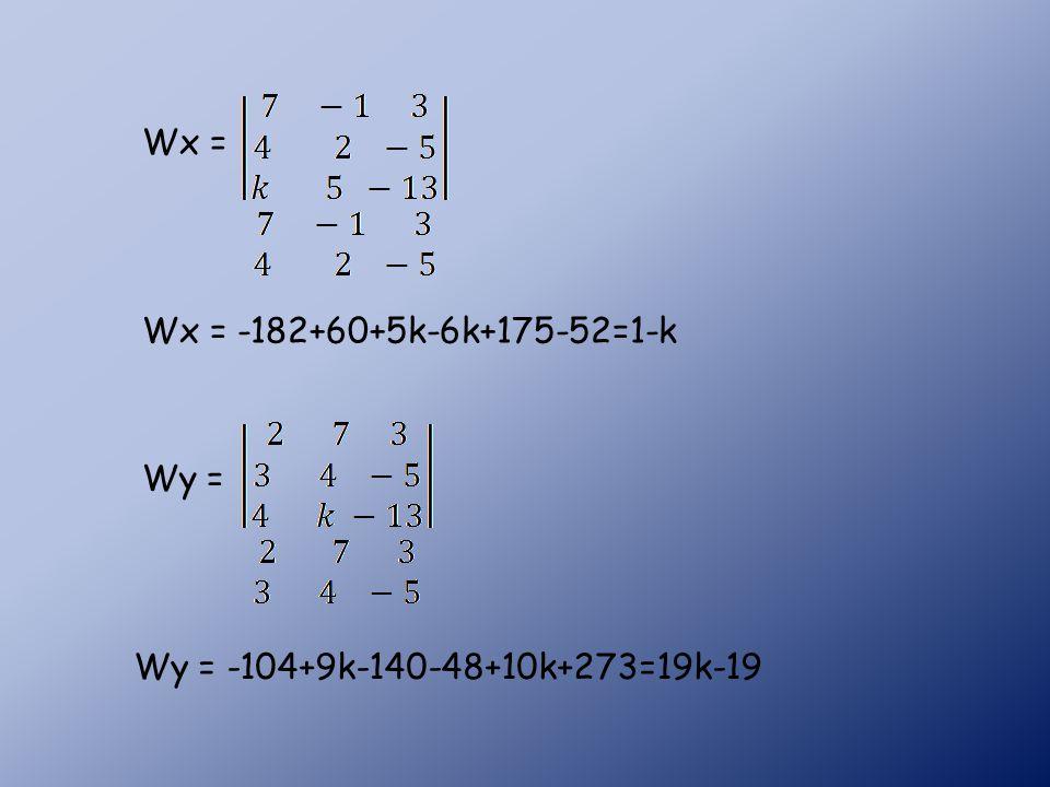 Wx = -182+60+5k-6k+175-52=1-k Wx = Wy = Wy = -104+9k-140-48+10k+273=19k-19