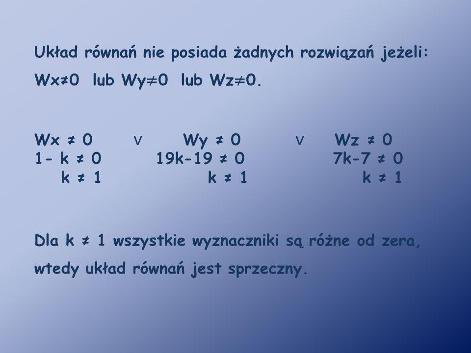 Układ równań nie posiada żadnych rozwiązań jeżeli: Wx≠0 lub Wy ≠ 0 lub Wz ≠ 0. Wx ≠ 0 ∨ Wy ≠ 0 ∨ Wz ≠ 0 1- k ≠ 0 19k-19 ≠ 0 7k-7 ≠ 0 k ≠ 1 k ≠ 1 k ≠ 1