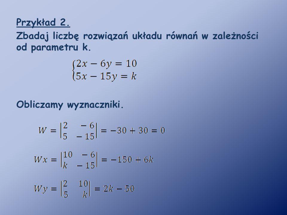 Przykład 2. Zbadaj liczbę rozwiązań układu równań w zależności od parametru k. Obliczamy wyznaczniki.