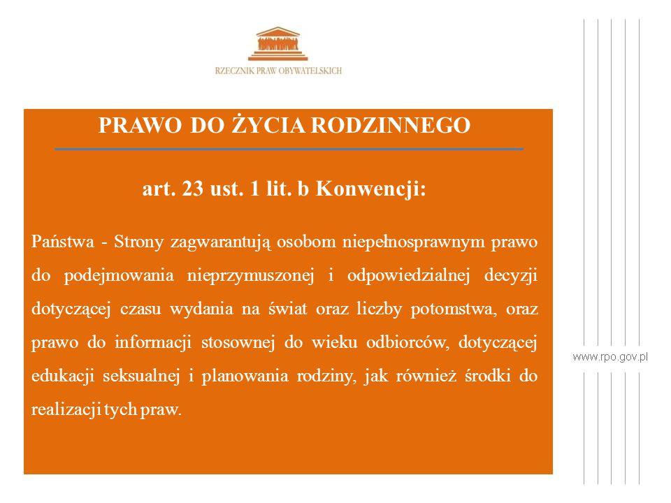 PRAWO DO ŻYCIA RODZINNEGO art. 23 ust. 1 lit.