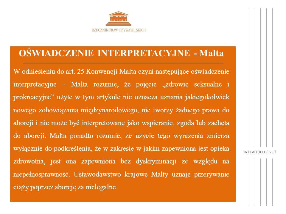 OŚWIADCZENIE INTERPRETACYJNE - Malta W odniesieniu do art.