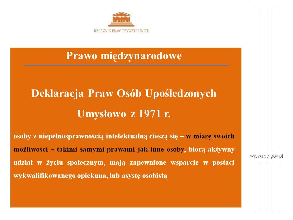 Prawo międzynarodowe Deklaracja Praw Osób Upośledzonych Umysłowo z 1971 r.