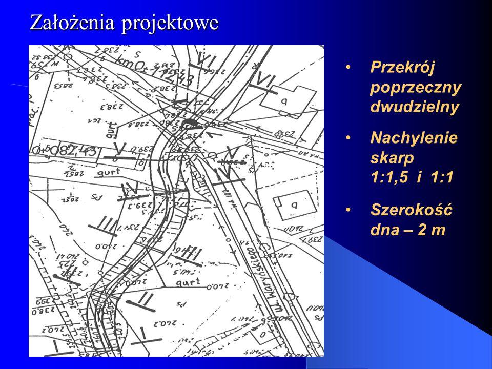 Głębokość rowu od 2 do 2,7 [m] Założenia projektowe Spadek od 2,3 do 0,8 % Umocnienie dna: palisada drewniana i kiszki faszynowe narzut kamienny Umocnienie skarp i dna w obrębie przepustu: płyty ażurowe Odcinki proste łączone przy pomocy łuków R od 20 do 50 [m] Q [50%] = 1,21 [m 3 s -1 ], h = 0,3 [m] Q [20%] = 3,30 [m 3 s -1 ],h = 0,52 [m] dla spadku I = 0,8 %
