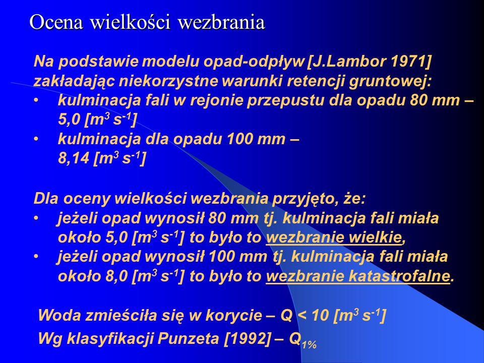 Na podstawie modelu opad-odpływ [J.Lambor 1971] zakładając niekorzystne warunki retencji gruntowej: kulminacja fali w rejonie przepustu dla opadu 80 mm – 5,0 [m 3 s -1 ] kulminacja dla opadu 100 mm – 8,14 [m 3 s -1 ] Ocena wielkości wezbrania Dla oceny wielkości wezbrania przyjęto, że: jeżeli opad wynosił 80 mm tj.