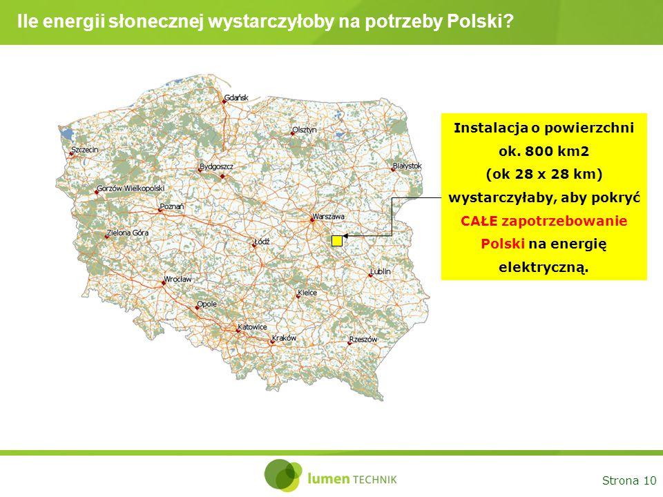 Strona 10 Ile energii słonecznej wystarczyłoby na potrzeby Polski? Instalacja o powierzchni ok. 800 km2 (ok 28 x 28 km) wystarczyłaby, aby pokryć CAŁE