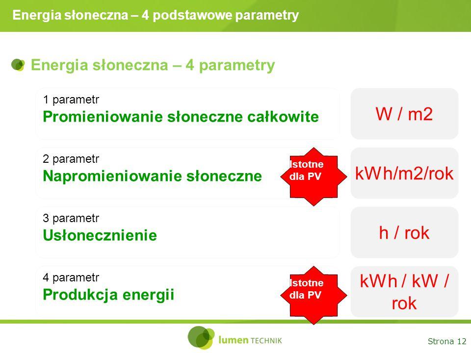 Strona 12 Energia słoneczna – 4 podstawowe parametry Energia słoneczna – 4 parametry 1 parametr Promieniowanie słoneczne całkowite W / m2 2 parametr N