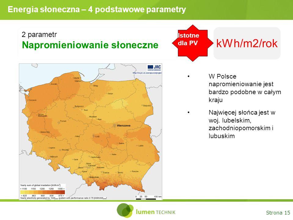 Strona 15 Energia słoneczna – 4 podstawowe parametry 2 parametr Napromieniowanie słoneczne kWh/m2/rok W Polsce napromieniowanie jest bardzo podobne w