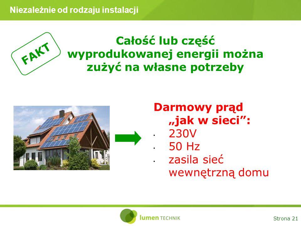 """Strona 21 Niezależnie od rodzaju instalacji Całość lub część wyprodukowanej energii można zużyć na własne potrzeby FAKT Darmowy prąd """"jak w sieci"""": 23"""