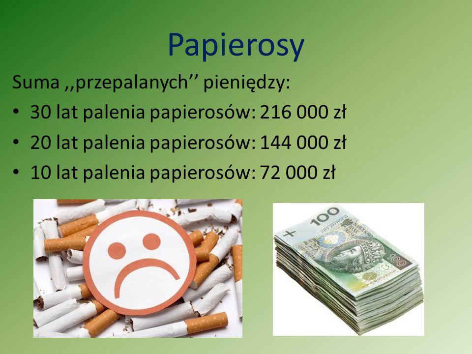 Papierosy Suma,,przepalanych'' pieniędzy: 30 lat palenia papierosów: 216 000 zł 20 lat palenia papierosów: 144 000 zł 10 lat palenia papierosów: 72 00