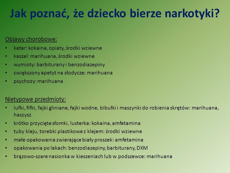 Jak poznać, że dziecko bierze narkotyki? Objawy chorobowe: katar: kokaina, opiaty, środki wziewne kaszel: marihuana, środki wziewne wymioty: barbitura