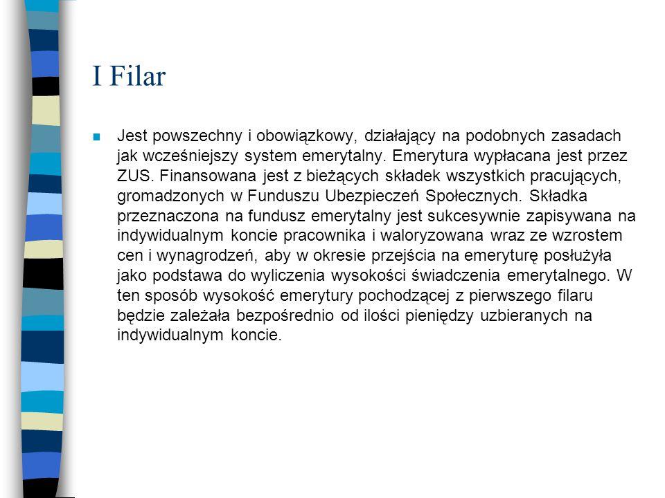 I Filar n Jest powszechny i obowiązkowy, działający na podobnych zasadach jak wcześniejszy system emerytalny. Emerytura wypłacana jest przez ZUS. Fina