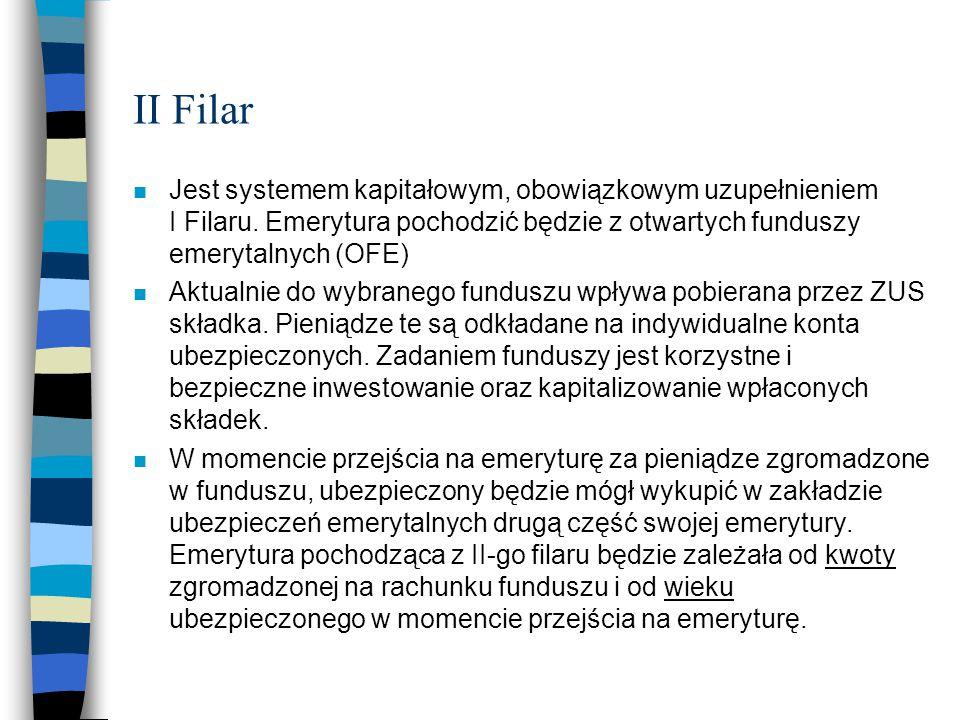 II Filar n Jest systemem kapitałowym, obowiązkowym uzupełnieniem I Filaru. Emerytura pochodzić będzie z otwartych funduszy emerytalnych (OFE) n Aktual