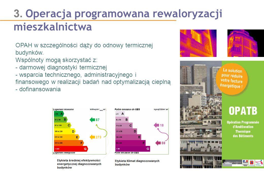 3. Operacja programowana rewaloryzacji mieszkalnictwa OPAH w szczególności dąży do odnowy termicznej budynków. Wspólnoty mogą skorzystać z: - darmowej
