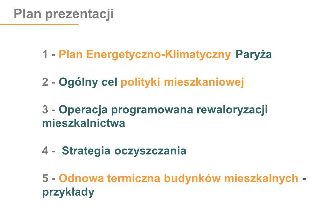 Plan prezentacji 1 - Plan Energetyczno-Klimatyczny Paryża 2 - Ogólny cel polityki mieszkaniowej 3 - Operacja programowana rewaloryzacji mieszkalnictwa