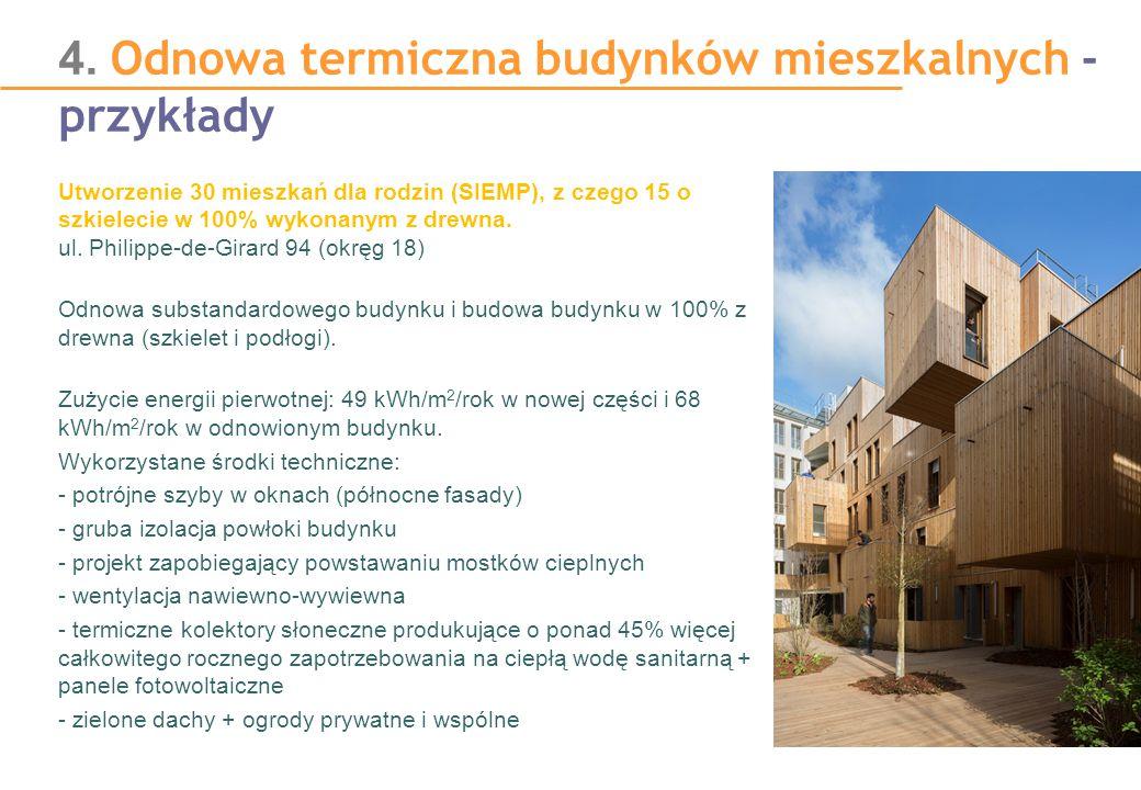 4. Odnowa termiczna budynków mieszkalnych - przykłady Utworzenie 30 mieszkań dla rodzin (SIEMP), z czego 15 o szkielecie w 100% wykonanym z drewna. ul