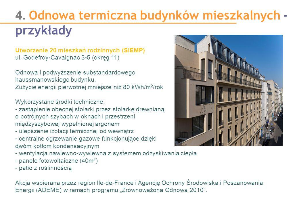 4. Odnowa termiczna budynków mieszkalnych - przykłady Utworzenie 20 mieszkań rodzinnych (SIEMP) ul. Godefroy-Cavaignac 3-5 (okręg 11) Odnowa i podwyżs
