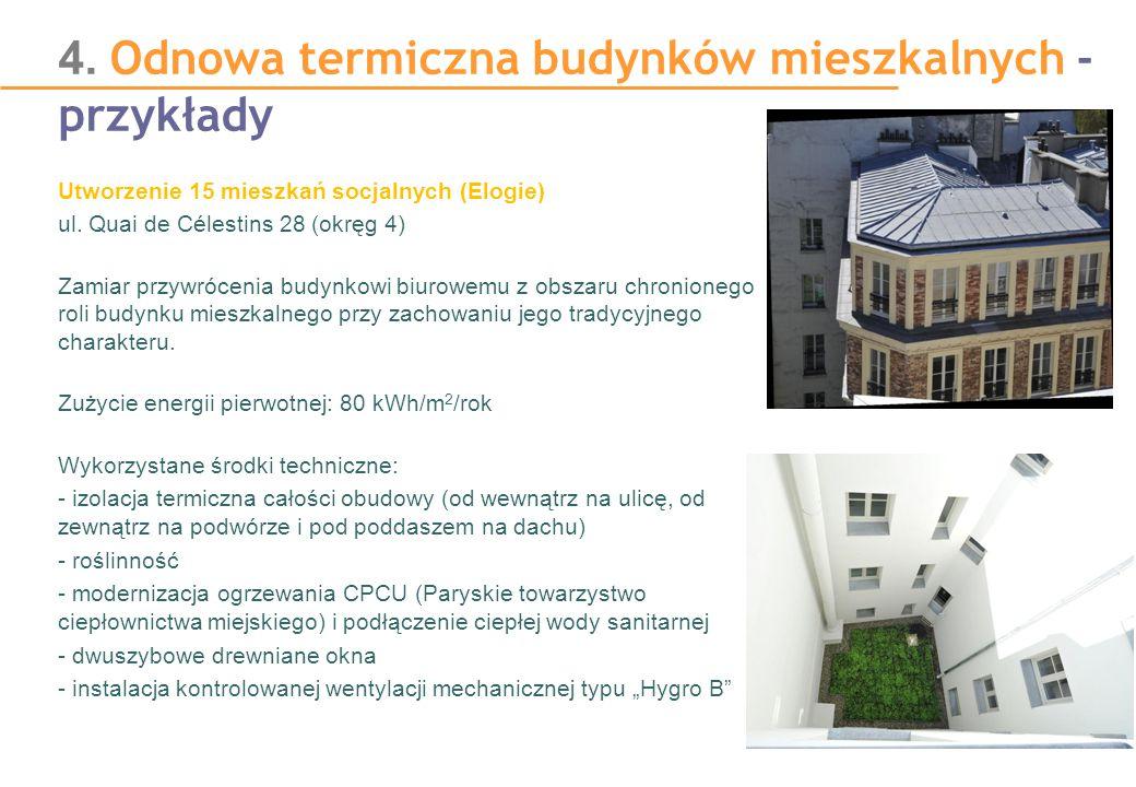 4. Odnowa termiczna budynków mieszkalnych - przykłady Utworzenie 15 mieszkań socjalnych (Elogie) ul. Quai de Célestins 28 (okręg 4) Zamiar przywróceni