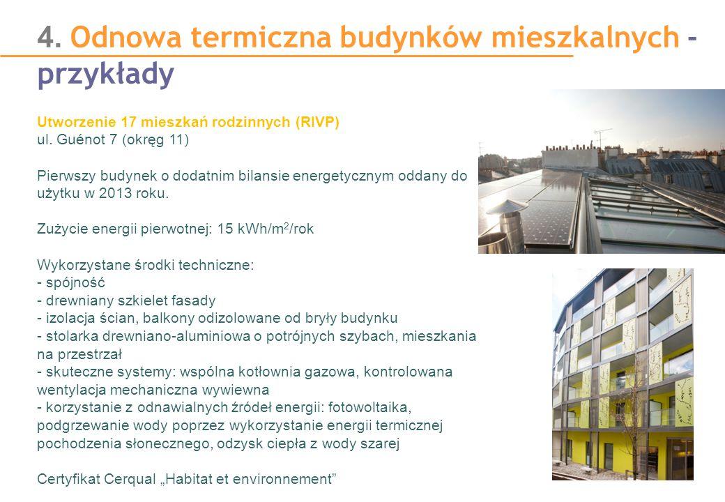 4. Odnowa termiczna budynków mieszkalnych - przykłady Utworzenie 17 mieszkań rodzinnych (RIVP) ul. Guénot 7 (okręg 11) Pierwszy budynek o dodatnim bil