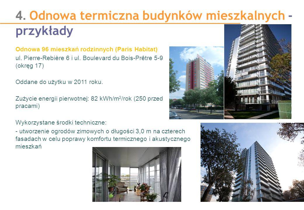 4. Odnowa termiczna budynków mieszkalnych - przykłady Odnowa 96 mieszkań rodzinnych (Paris Habitat) ul. Pierre-Rebière 6 i ul. Boulevard du Bois-Prêtr