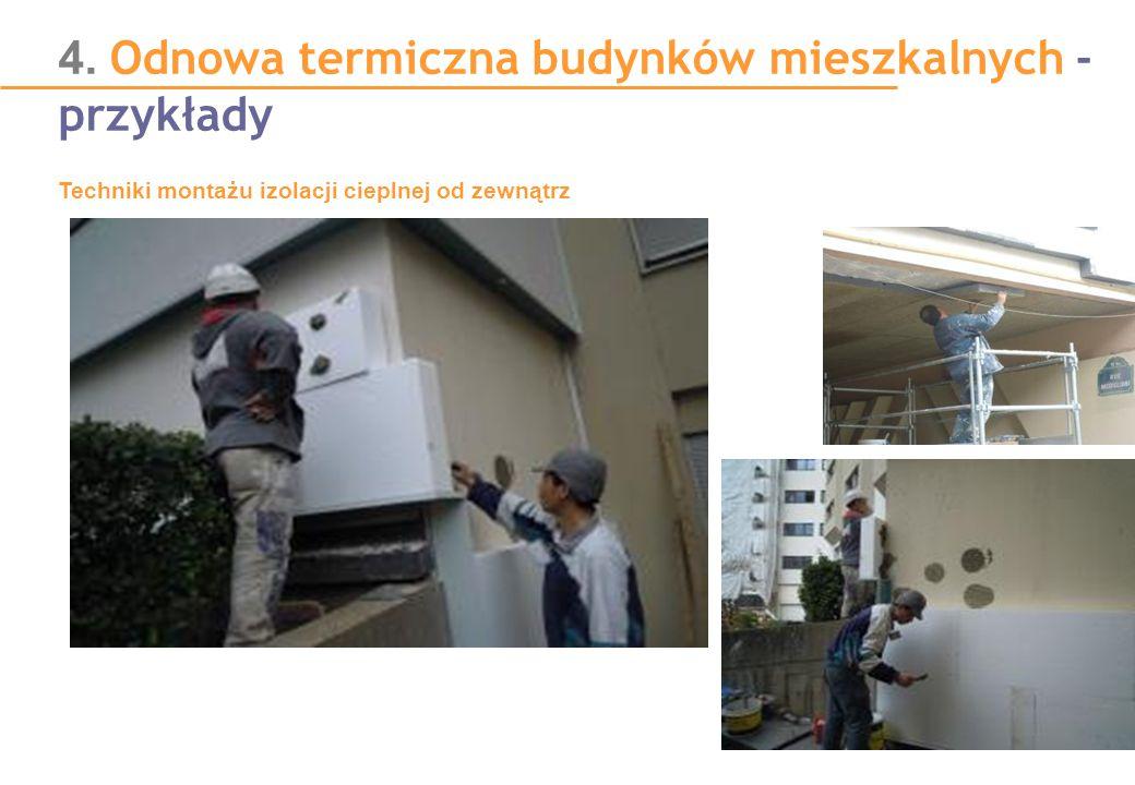 4. Odnowa termiczna budynków mieszkalnych - przykłady Techniki montażu izolacji cieplnej od zewnątrz