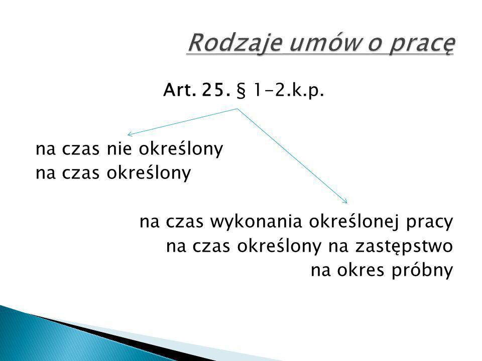 Art. 25. § 1-2.k.p. na czas nie określony na czas określony na czas wykonania określonej pracy na czas określony na zastępstwo na okres próbny