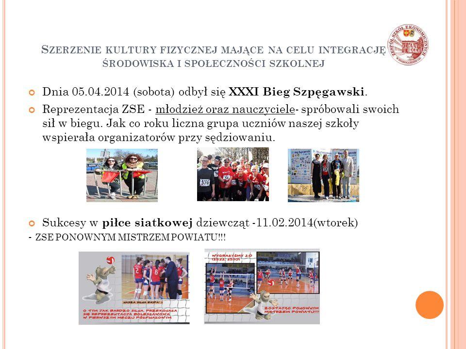 S ZERZENIE KULTURY FIZYCZNEJ MAJĄCE NA CELU INTEGRACJĘ ŚRODOWISKA I SPOŁECZNOŚCI SZKOLNEJ Dnia 05.04.2014 (sobota) odbył się XXXI Bieg Szpęgawski.