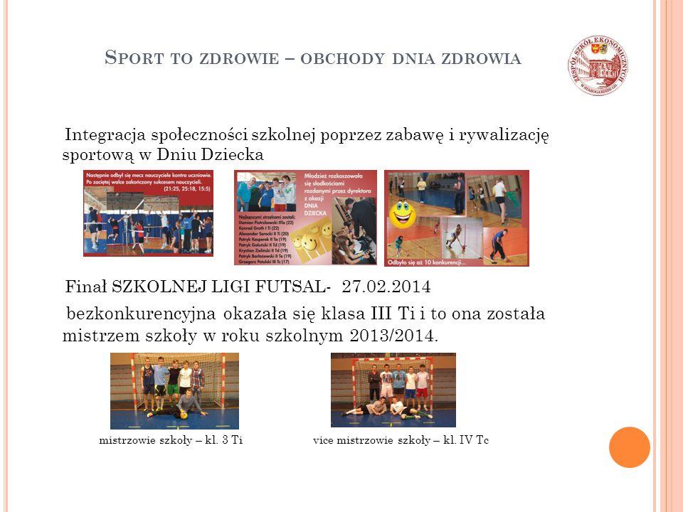 S PORT TO ZDROWIE – OBCHODY DNIA ZDROWIA Integracja społeczności szkolnej poprzez zabawę i rywalizację sportową w Dniu Dziecka Finał SZKOLNEJ LIGI FUT