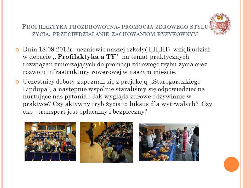 P ROFILAKTYKA PROZDROWOTNA - PROMOCJA ZDROWEGO STYLU ŻYCIA, PRZECIWDZIAŁANIE ZACHOWANIOM RYZYKOWNYM Dnia 18.09.2013r. uczniowie naszej szkoły( I,II,II