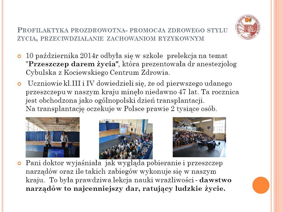P ROFILAKTYKA PROZDROWOTNA - PROMOCJA ZDROWEGO STYLU ŻYCIA, PRZECIWDZIAŁANIE ZACHOWANIOM RYZYKOWNYM 10 października 2014r odbyła się w szkole prelekcja na temat Przeszczep darem życia , która prezentowała dr anestezjolog Cybulska z Kociewskiego Centrum Zdrowia.