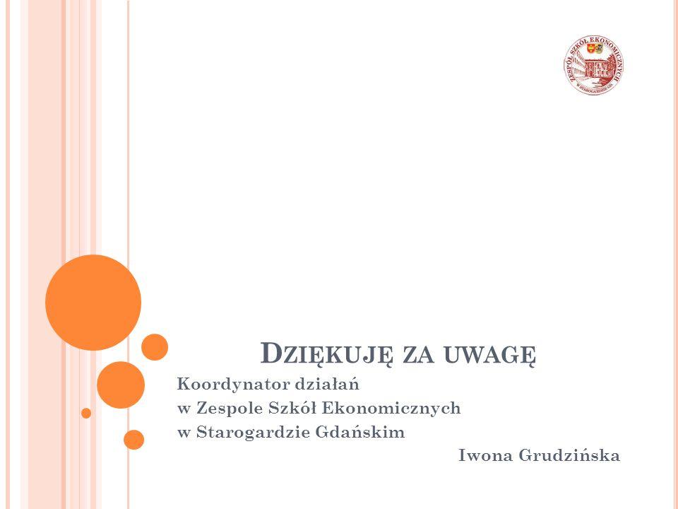 D ZIĘKUJĘ ZA UWAGĘ Koordynator działań w Zespole Szkół Ekonomicznych w Starogardzie Gdańskim Iwona Grudzińska