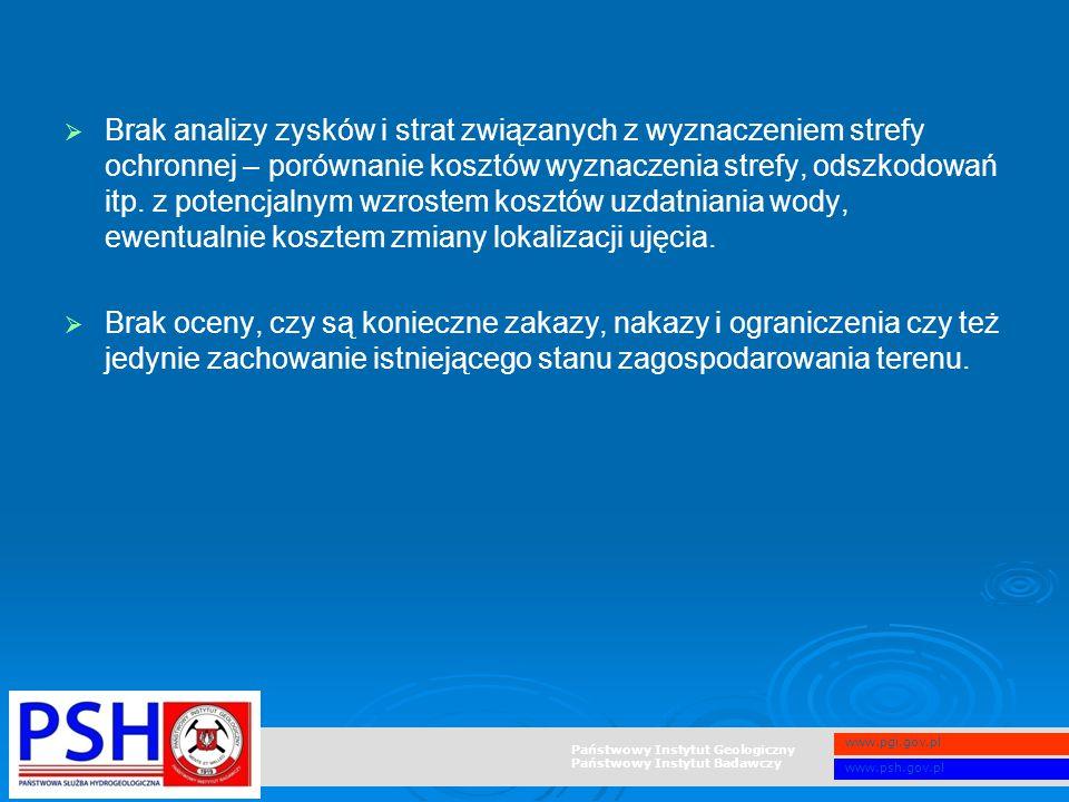 Państwowy Instytut Geologiczny Państwowy Instytut Badawczy www.pgi.gov.pl www.psh.gov.pl   Brak analizy zysków i strat związanych z wyznaczeniem str