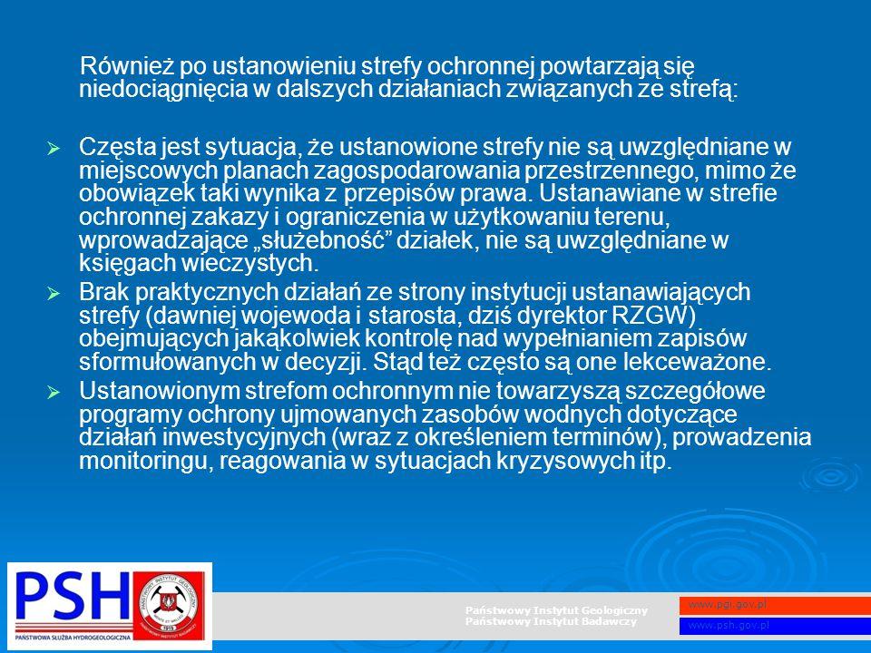 Państwowy Instytut Geologiczny Państwowy Instytut Badawczy www.pgi.gov.pl www.psh.gov.pl Również po ustanowieniu strefy ochronnej powtarzają się niedo