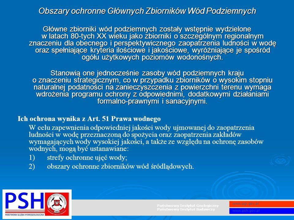 Państwowy Instytut Geologiczny Państwowy Instytut Badawczy www.pgi.gov.pl www.psh.gov.pl Obszary ochronne Głównych Zbiorników Wód Podziemnych Główne z