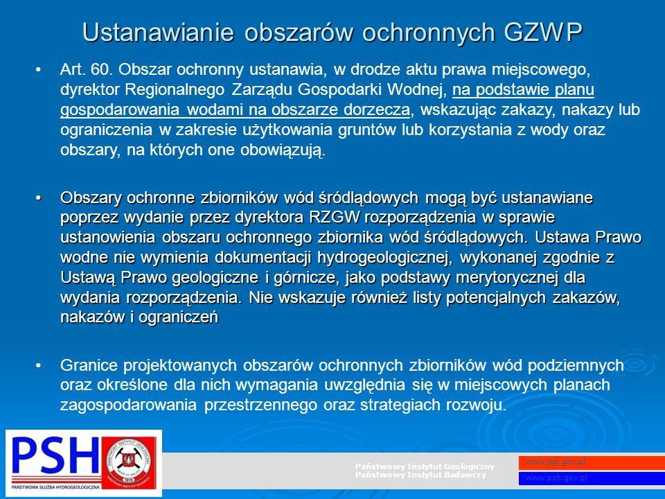 Państwowy Instytut Geologiczny Państwowy Instytut Badawczy www.pgi.gov.pl www.psh.gov.pl Art. 60. Obszar ochronny ustanawia, w drodze aktu prawa miejs