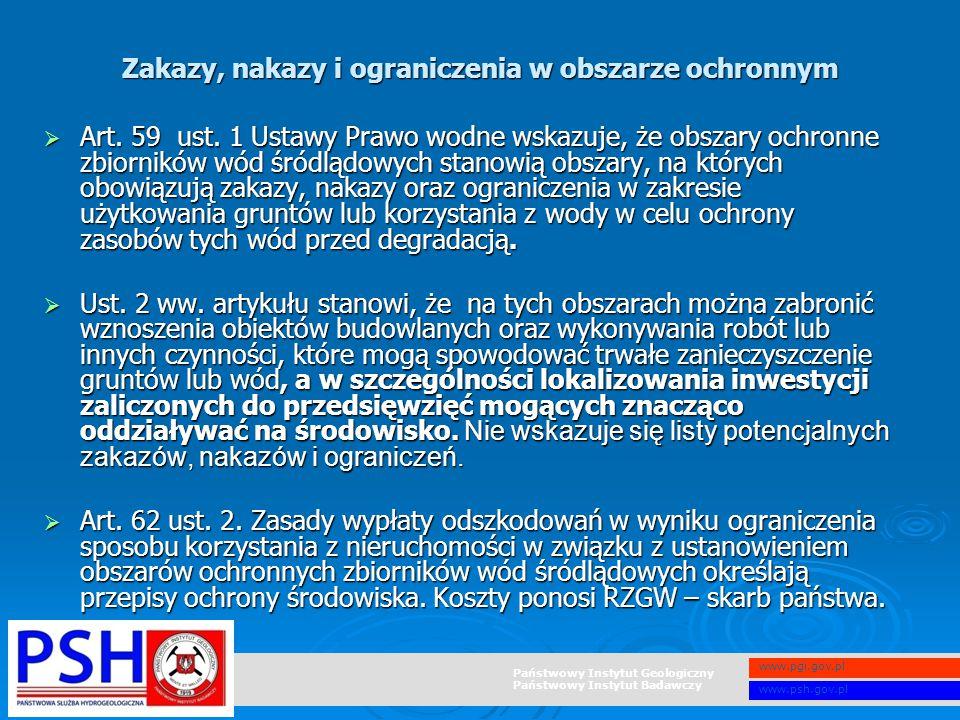 Państwowy Instytut Geologiczny Państwowy Instytut Badawczy www.pgi.gov.pl www.psh.gov.pl  Art. 59 ust. 1 Ustawy Prawo wodne wskazuje, że obszary ochr