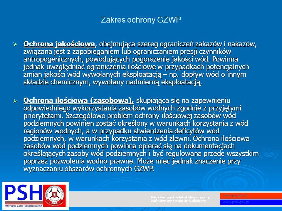 Państwowy Instytut Geologiczny Państwowy Instytut Badawczy www.pgi.gov.pl www.psh.gov.pl  Ochrona jakościowa, obejmująca szereg ograniczeń zakazów i