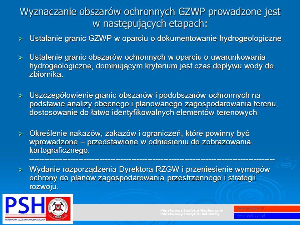 Państwowy Instytut Geologiczny Państwowy Instytut Badawczy www.pgi.gov.pl www.psh.gov.pl Wyznaczanie obszarów ochronnych GZWP prowadzone jest w następ