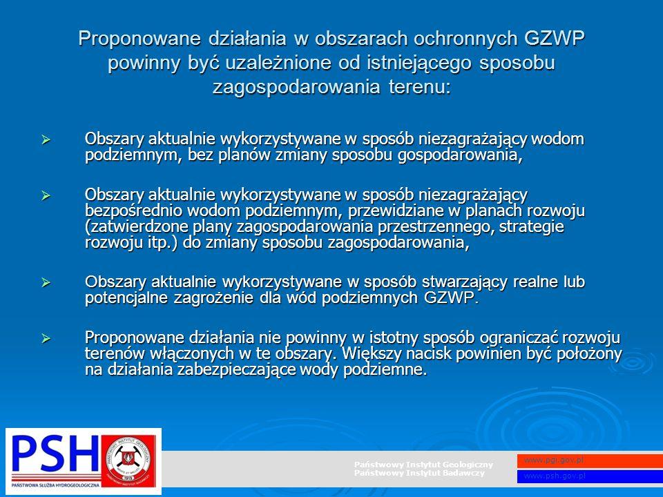 Państwowy Instytut Geologiczny Państwowy Instytut Badawczy www.pgi.gov.pl www.psh.gov.pl Proponowane działania w obszarach ochronnych GZWP powinny być