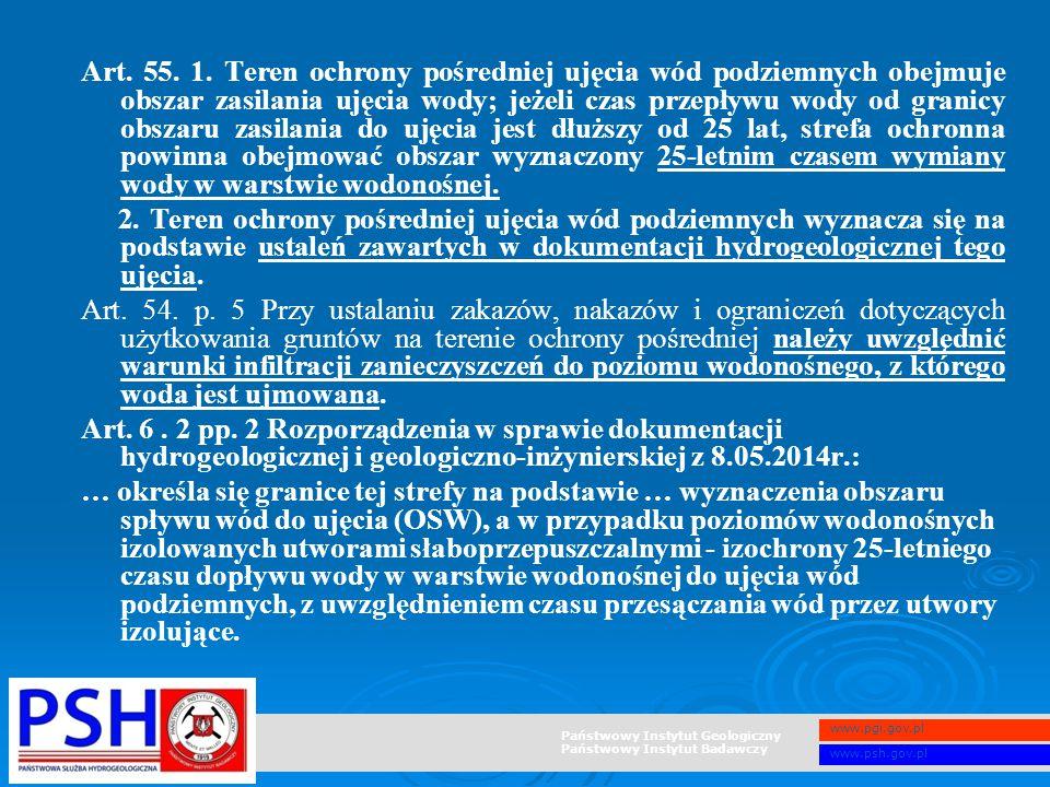 Państwowy Instytut Geologiczny Państwowy Instytut Badawczy www.pgi.gov.pl www.psh.gov.pl Art. 55. 1. Teren ochrony pośredniej ujęcia wód podziemnych o