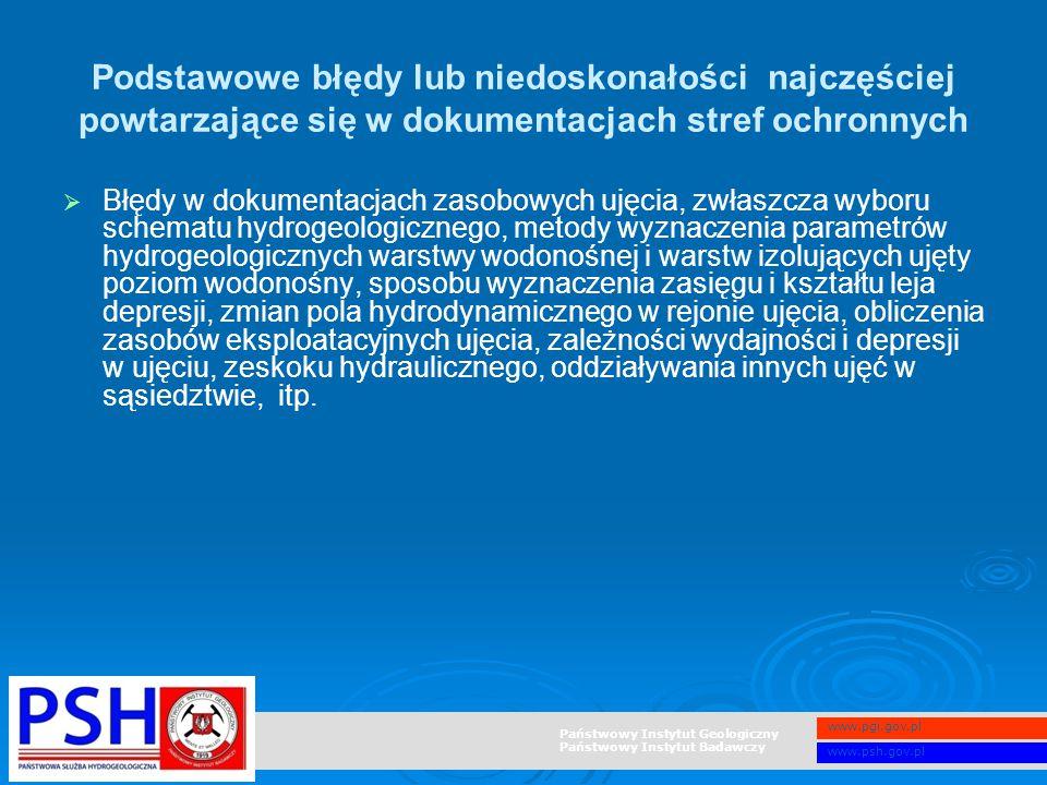 Państwowy Instytut Geologiczny Państwowy Instytut Badawczy www.pgi.gov.pl www.psh.gov.pl Podstawowe błędy lub niedoskonałości najczęściej powtarzające