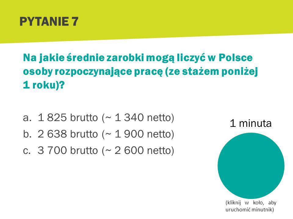 PYTANIE 6 Źródło: http://www.wynagrodzenia.pl/artykul.php/typ.1/kategoria_glowna.503/wpis.2849 Wyższe wykształcenie zwiększa szansę na wyższe zarobki.
