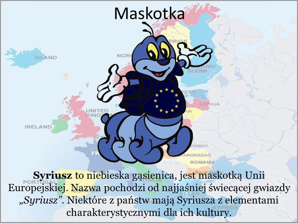 """Maskotka Syriusz to niebieska gąsienica, jest maskotką Unii Europejskiej. Nazwa pochodzi od najjaśniej świecącej gwiazdy """"Syriusz"""". Niektóre z państw"""