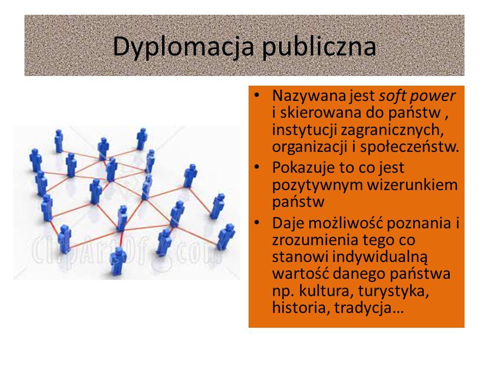 Dyplomacja publiczna Nazywana jest soft power i skierowana do państw, instytucji zagranicznych, organizacji i społeczeństw. Pokazuje to co jest pozyty
