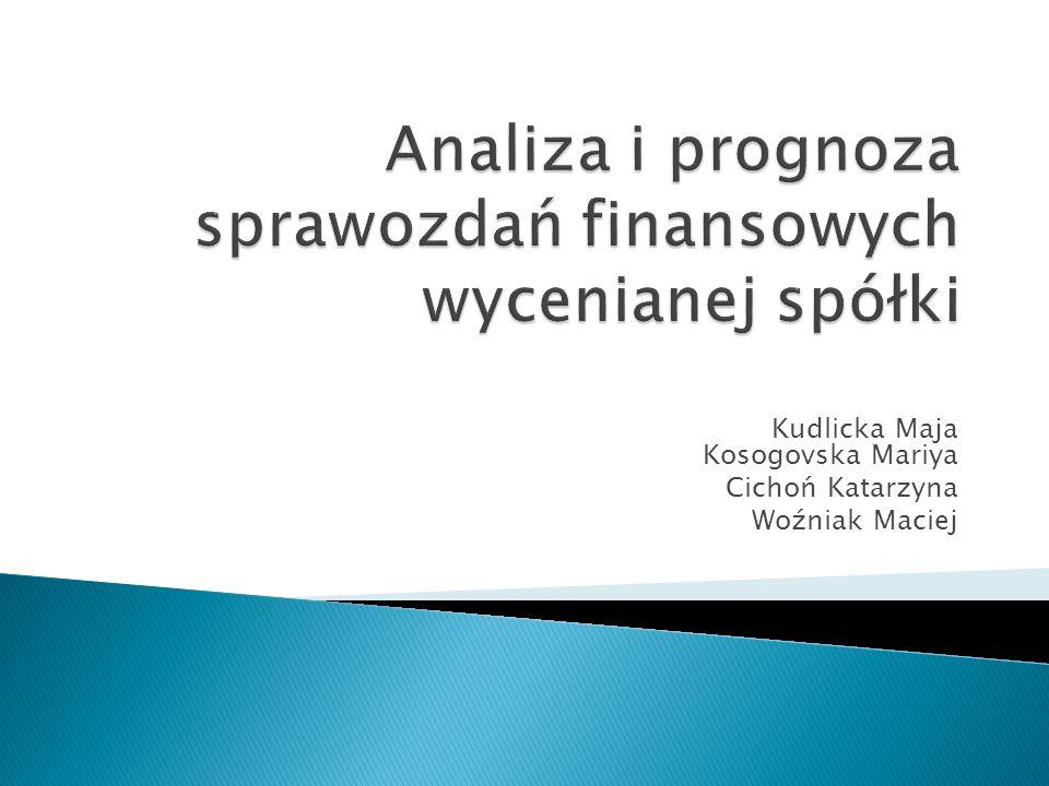 Kudlicka Maja Kosogovska Mariya Cichoń Katarzyna Woźniak Maciej